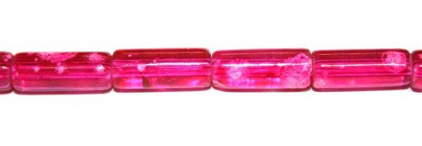 26pieces x 16mm*7mm Hot pink colour cylinder shape bubble gum glass beads / speckled glass beads -- 3005170